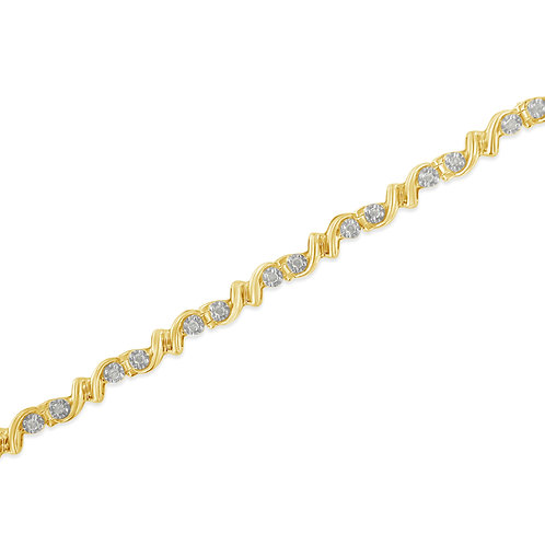 Yellow Plated Sterling Silver 1/2ct TDW Diamond