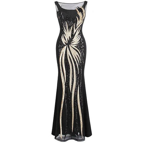 Women's Sheer Evening Dresses Round Neck Vintage Sequin Splicing Dress