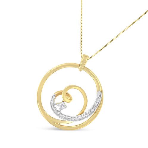 10k Yellow Gold 1/6ct TDW  Diamond Heart Circle
