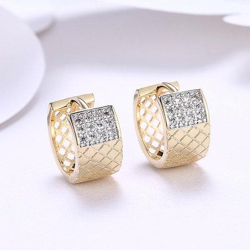 Diamond X Cut Half Huggie Earring in 18K Gold Plated
