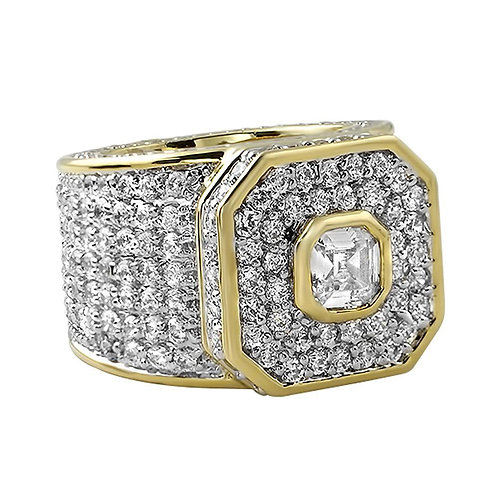 Custom Asscher Cut Center CZ Mens Micro Pave Bling Bling Ring