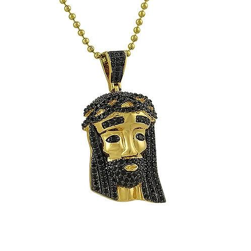 Mini Gold Jesus Pendant Black CZ Diamond Hair
