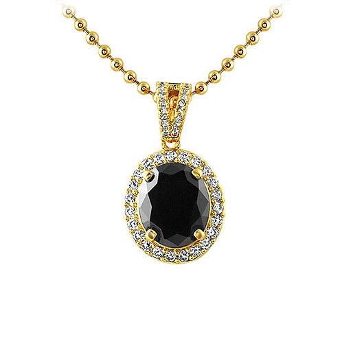 Oval Cut Gem Lab Made Black Diamond CZ Pendant