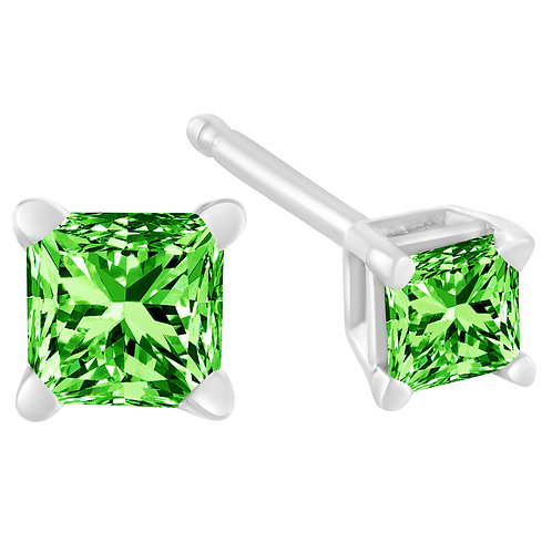 Sterling Silver 3/8ct TDW Princess Treated Green