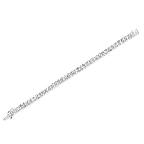 Sterling Silver 1ct TDW Rose-cut Diamond Wave link