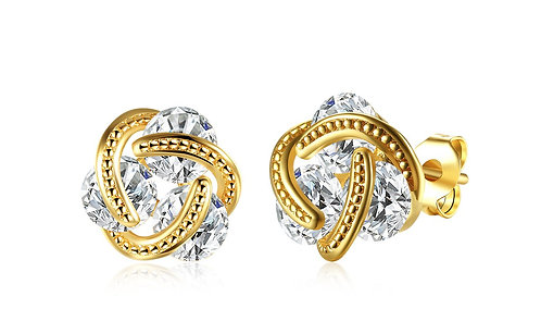 14K Gold Plating Swarovski Elements Twisted 3-Stone Stud Earrings-