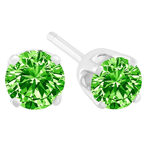 Sterling Silver 1/7ct TDW Treated Green Round-Cut