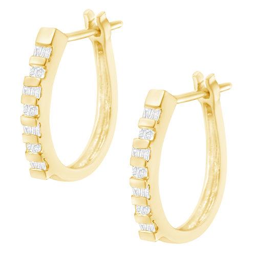 10K Yellow Gold 1/4ct TDW Diamond Hoop Earrings