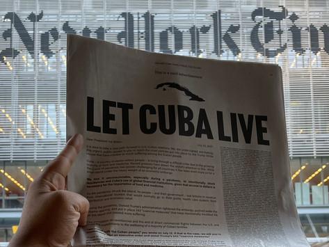"""The New York Times publicó una """"Carta a Biden"""" para que ponga fin al bloqueo contra Cuba"""