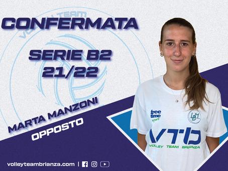 Marta Manzoni è la prima conferma per la Serie B2