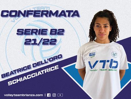 Beatrice Dell'Oro è la terza conferma per la squadra di coach Zanchi