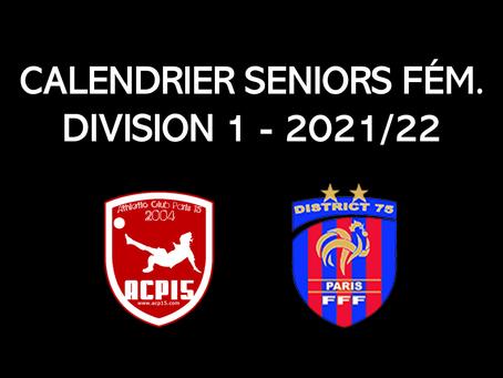 Seniors F : Calendrier 2021/22