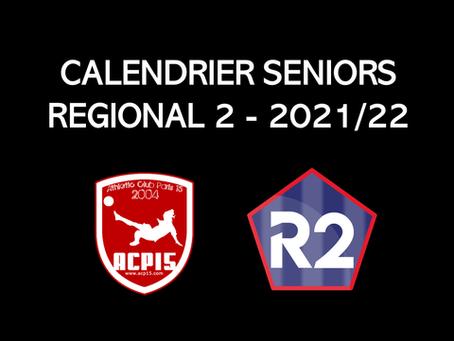 Seniors : Calendrier R2 2021/22