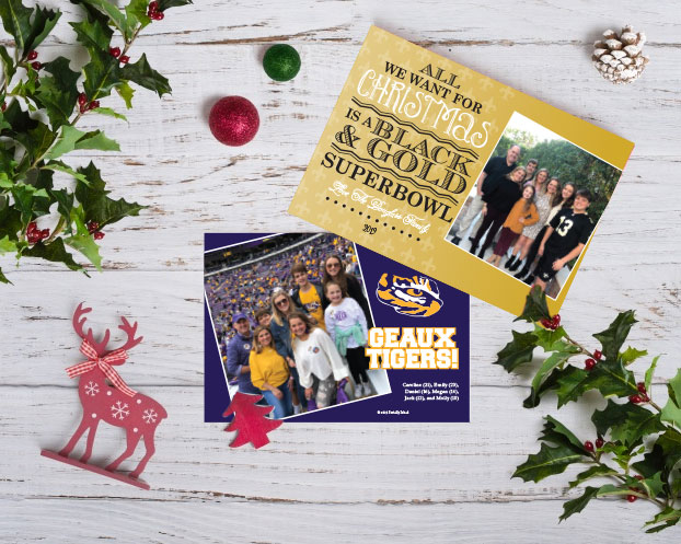 LSU & Saints Themed Christmas Card