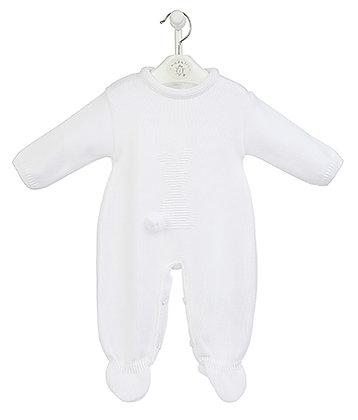 White Knitted Bunny Pompom Romper