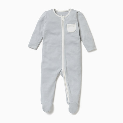 MORI Zip-Up Sleepsuit - Blue Stripe