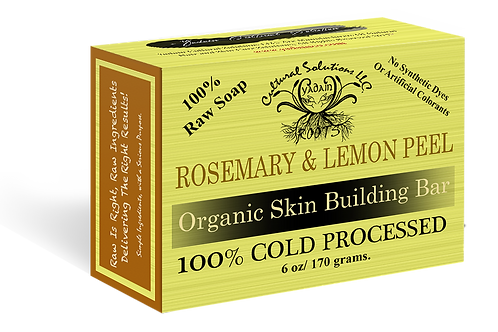 Signature 100% Cold Processed, Raw Bar Soap: ROSEMARY & LEMON PEEL (6oz)