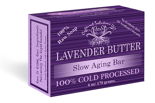 Signature 100% Cold Processed, Raw Bar Soap: LAVENDER BUTTER (6oz)