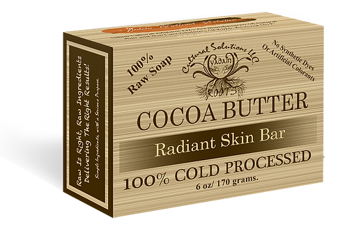 Signature 100% Cold Processed, Raw Bar Soap: COCOA BUTTER (6oz)