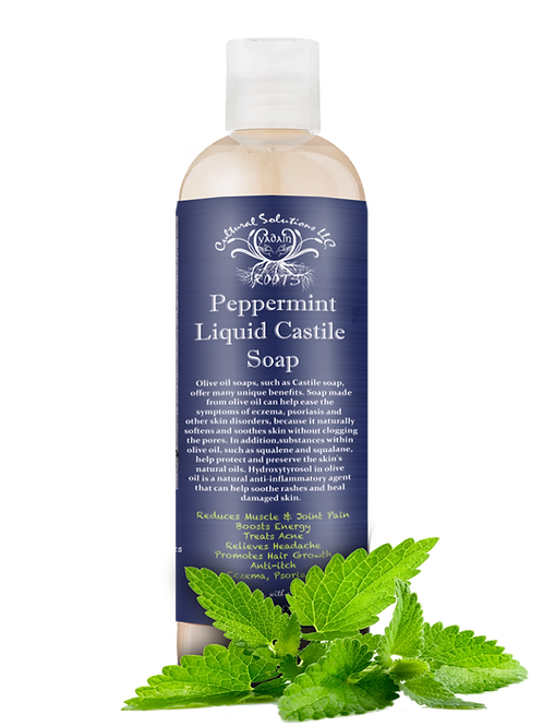 100% Raw Peppermint Castile Soap 8oz.