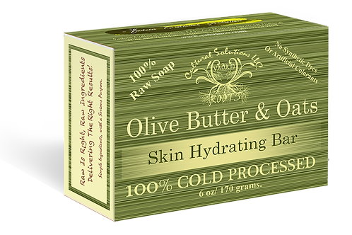 Signature 100% Cold Processed, Raw Bar Soap: OLIVE BUTTER & OATS (6oz)