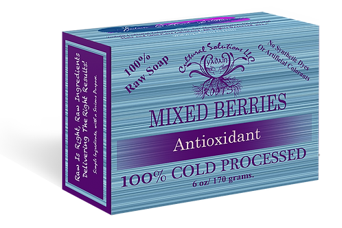 Signature 100% Cold Processed, Raw Bar Soap: MIXED BERRIES (6oz)