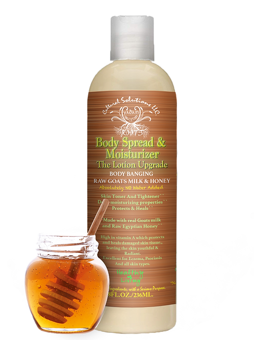 Body Bangin Raw Goats Milk & Honey Body Spread & Moisturizer -8oz.