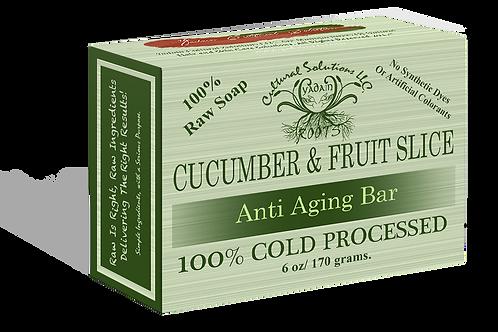 Signature 100% Cold Processed, Raw Bar Soap: CUCUMBER & FRUIT SLICES (6oz)