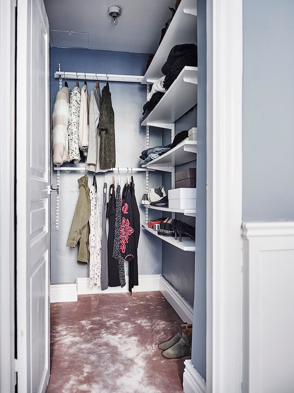 cloakroom with designer clothes and blue walls pink carpet