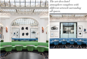 Hotel Vernet orangerie lounge dining, green chairs