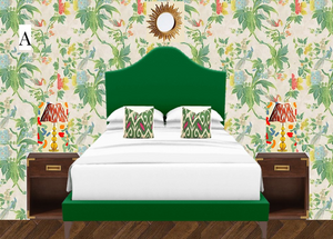 The Bermondsey bed from Sofas and Stuff in green velvet Napoli Viridian in front of Little Greene Paradise floral wallpaper and with Pooky lamps campaign side tables
