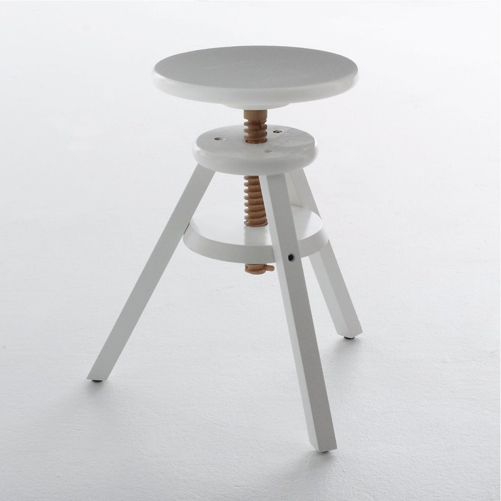 Made of solid birch, this white stool has adjustable height