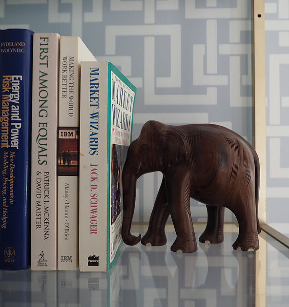 wooden elephant, spray painted bookcase
