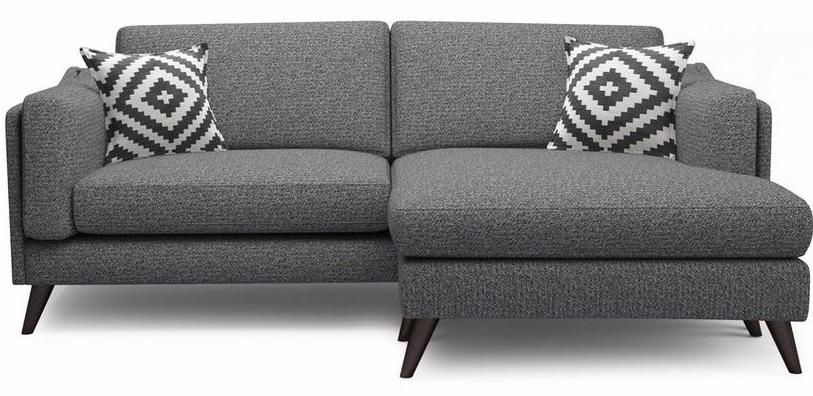 Dark grey corner sofa with geometric cushions MAYA DFS