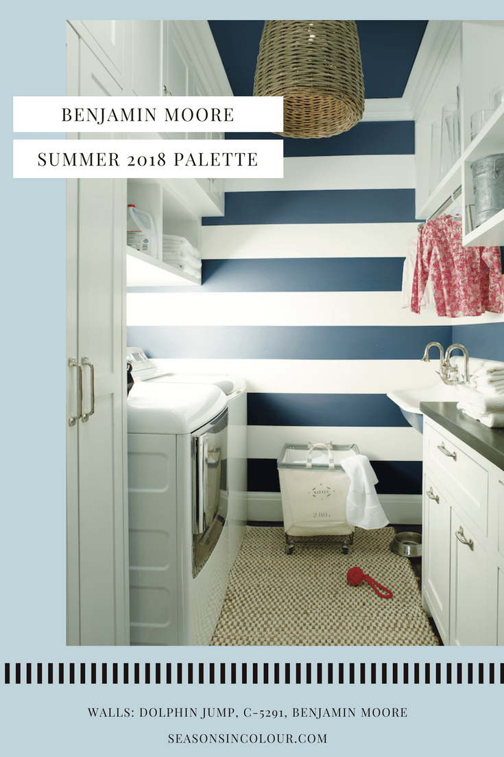A modern laundry room in blue and white stripes, the blue is Dolphin Jump by Benjamin Moore. Washer dryer combo. Utility room decor ideas