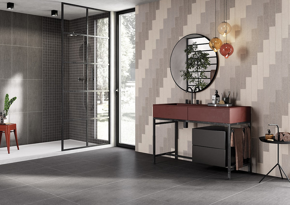 Vertical long tiles in the bathroom, luxury interior styling