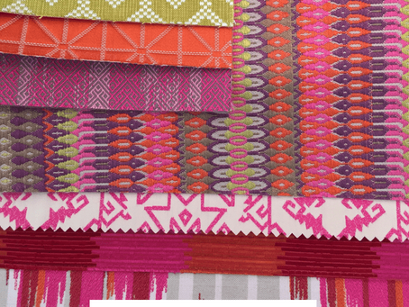 Colourful textiles for neutral rooms