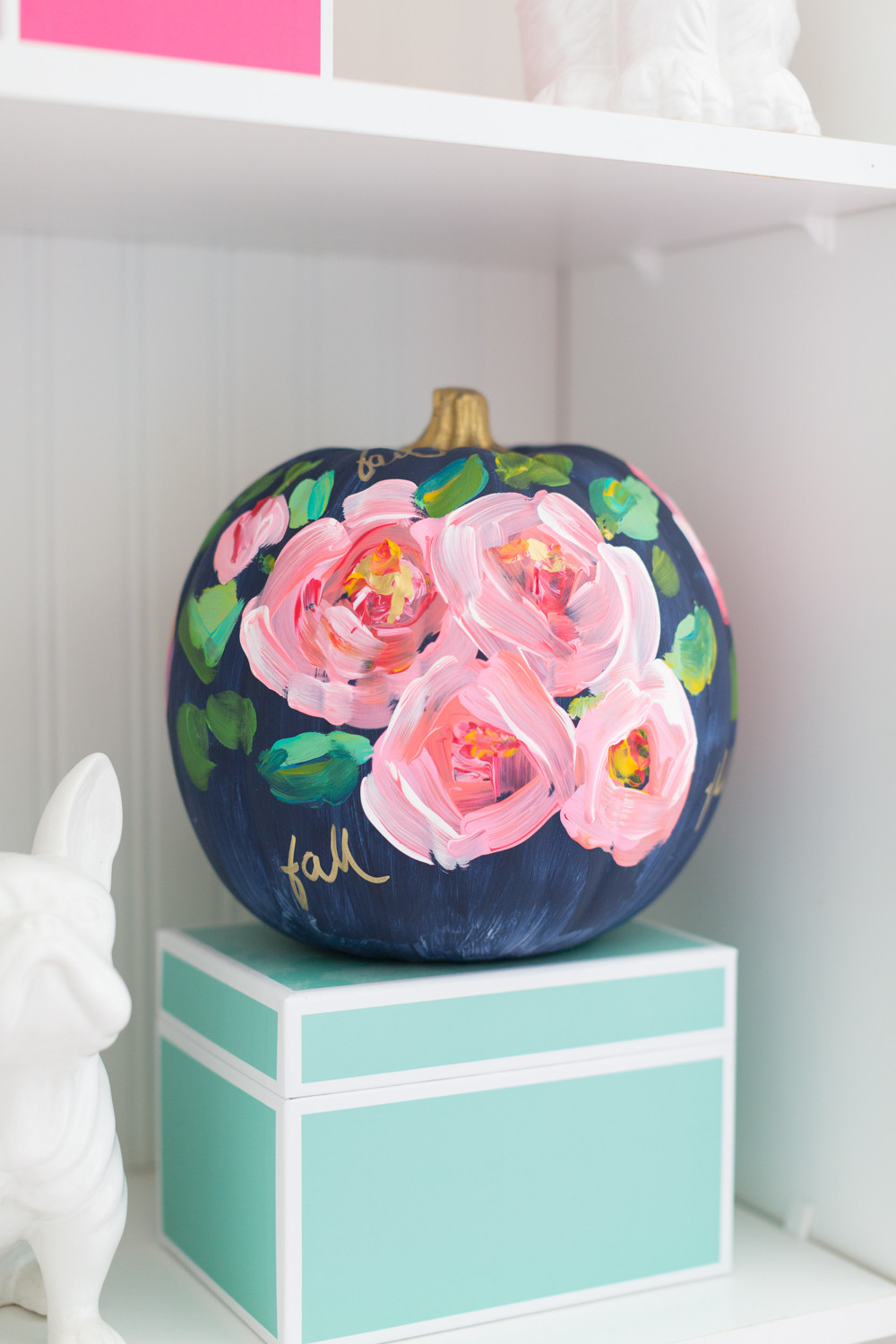 diy roses painted pumpkin in blue background for girls room