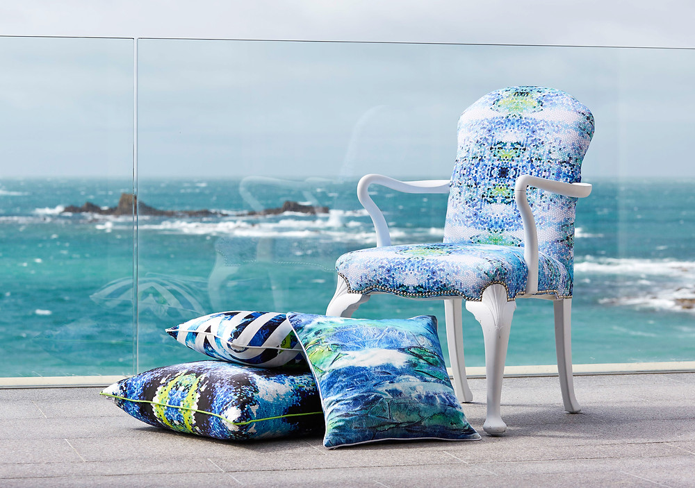 cushions by Penelope Hope with views of the sea in Guernsey, interior decor