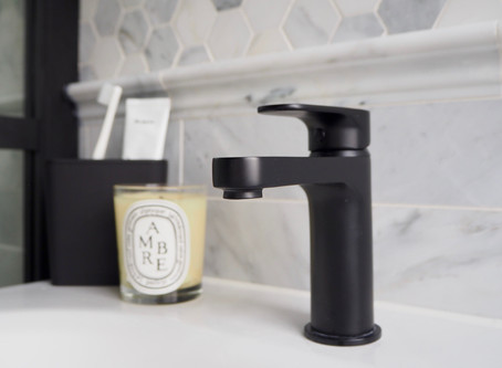 Family Bathroom Renovation, the Reveal! Marble and Black makeover