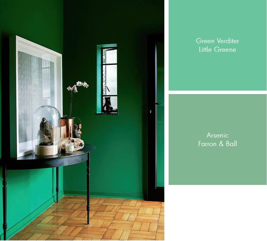 Farrow and Ball Arsenic Green Verditer Little Greene Green Hallway interiors