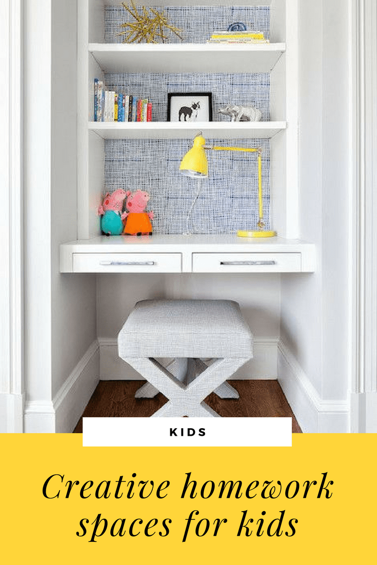 homework space in alcove with yellow lamp and ottoman