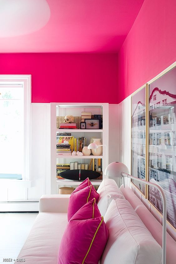 hot pink ceiling living room decor ideas