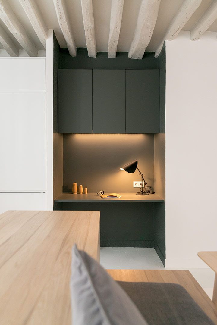 Custom built desk space in a wall recess