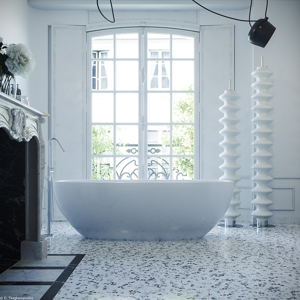 PARISIAN APARTMENT IN WHITE TERRAZZO WITH FIREPLACE AND BATHTUB