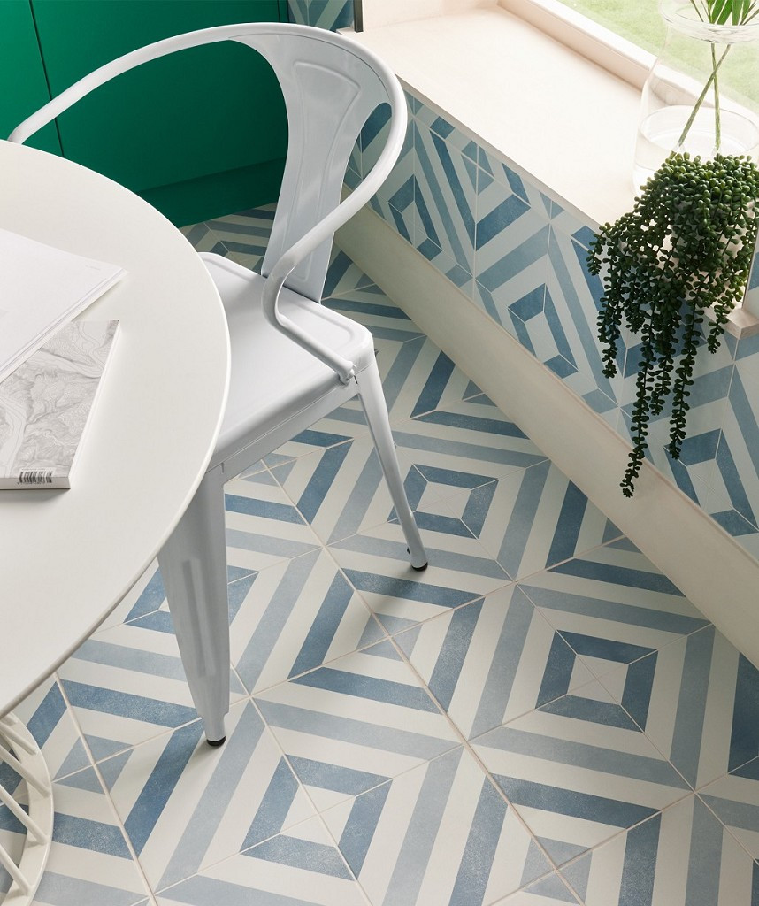 Striking geometric wall tiles in diamond pattern blue for eclectic decor in the bathroom or the kitchen floor