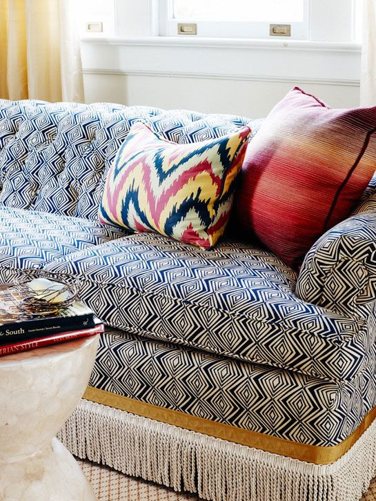 sofa with bullion fringe