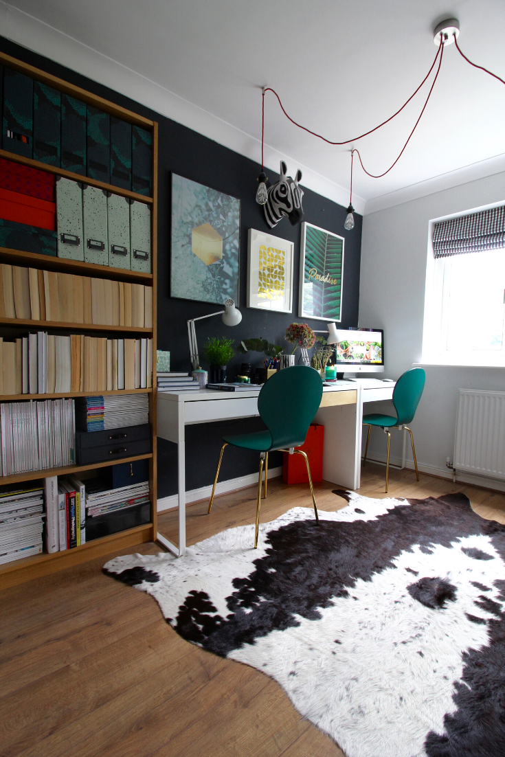 Office decor ideas with IKEA MICKE desks and BILLY bookcase. Wall painted in Farrow and Ball Railings. Cowhide rug
