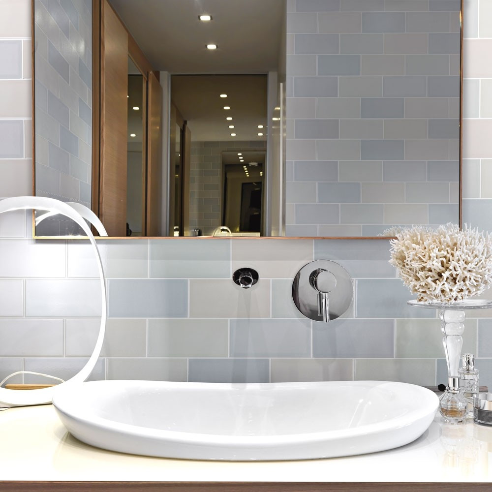 Tints Calm Brick Tiles by Walls and Floors pastel colours in the bathroom