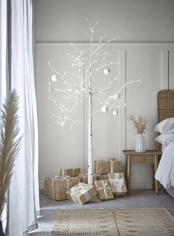 15 space saving Christmas products that are PERFECT for renters - faux christmas birch tree with lights